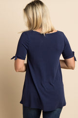 Navy Blue Solid Sleeve Tie Maternity Top