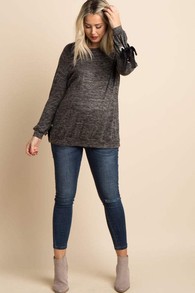 Charcoal Grey Heathered Lace-Up Sleeve Maternity Top