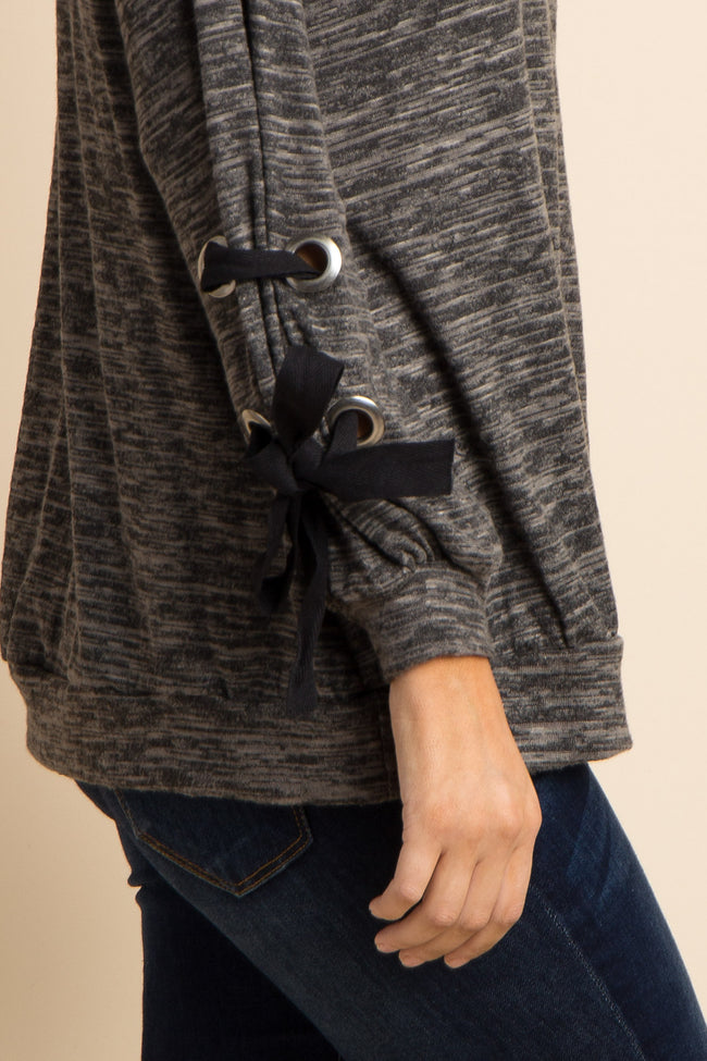 Charcoal Grey Heathered Lace-Up Sleeve Top
