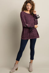 Purple Heathered Lace-Up Sleeve Maternity Top