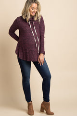 Purple Heathered Drawstring Cowl Neck Maternity Top