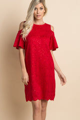 Red Sparkle Lace Overlay Cold Shoulder Maternity Dress