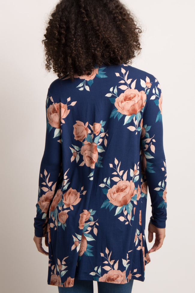 Navy Rose Floral Long Sleeve Maternity Cardigan