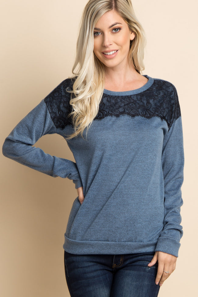 Blue Lace Accent Soft Knit Maternity Sweater