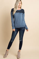 Blue Lace Accent Soft Knit Sweater