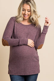 Plum Button Back Quilted Elbow Knit Maternity Top