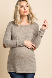 Mocha Button Back Quilted Elbow Knit Maternity Top