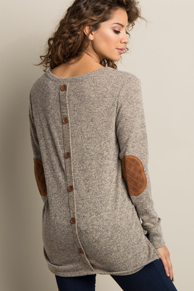 Mocha Button Back Quilted Elbow Knit Top