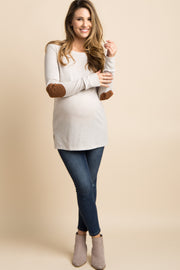 Beige Button Back Quilted Elbow Knit Maternity Top