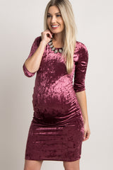 Plum Crushed Velvet Ruched Fitted Maternity Dress