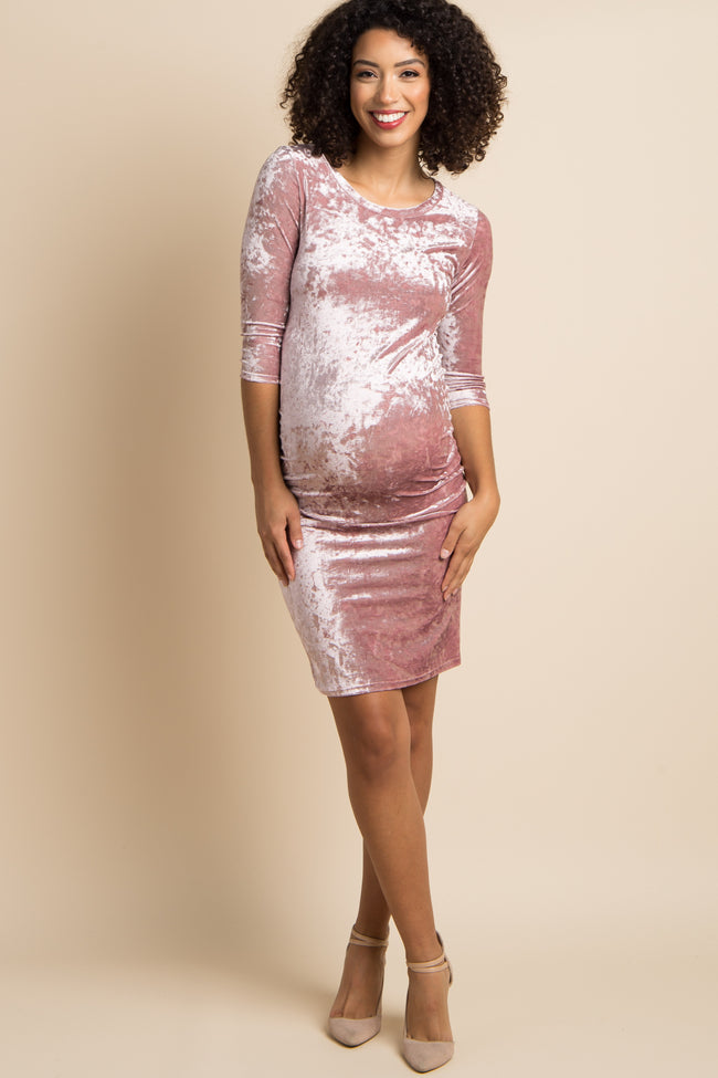 Pink Crushed Velvet Ruched Fitted Maternity Dress Pinkblush