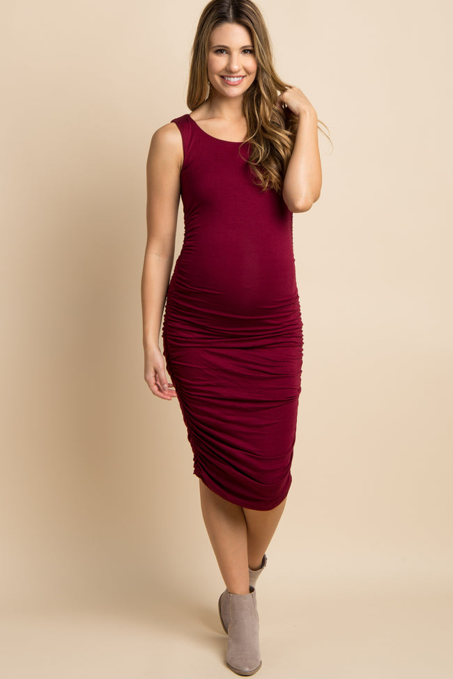 Burgundy Solid Ruched Fitted Maternity Midi Dress