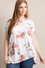 Ivory Floral Knotted Hem Plus Maternity Top