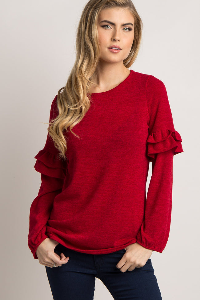 Red Ruffle Sleeve Maternity Sweater
