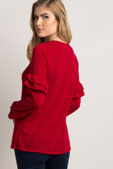 Red Ruffle Sleeve Sweater