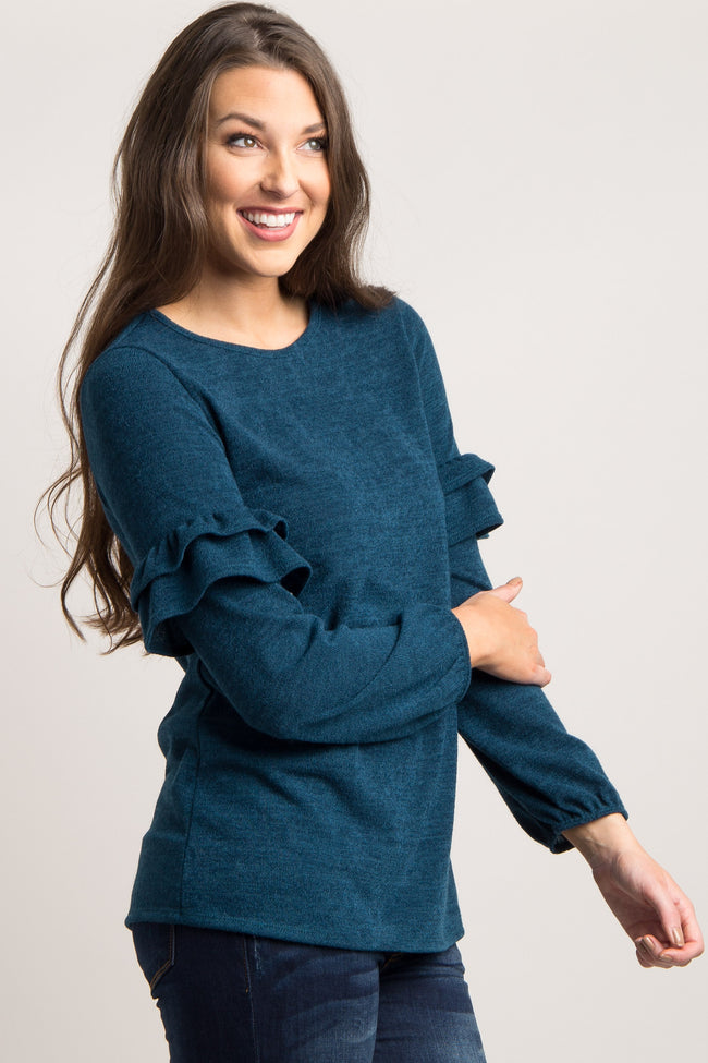 Teal Ruffle Sleeve Sweater