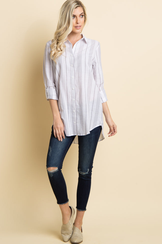 Grey Alternating Striped Button Up Top