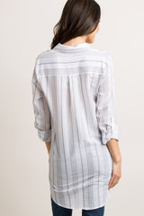 Grey Alternating Striped Button Up Maternity Top
