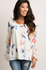 Ivory Floral Chiffon Sleeve Tie Blouse