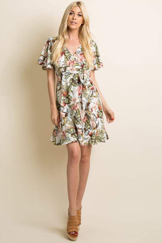 Ivory Floral Ruffle Trim Sash Tie Wrap Dress