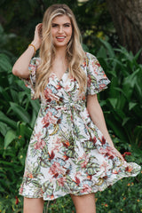 Ivory Floral Ruffle Trim Maternity Wrap Dress