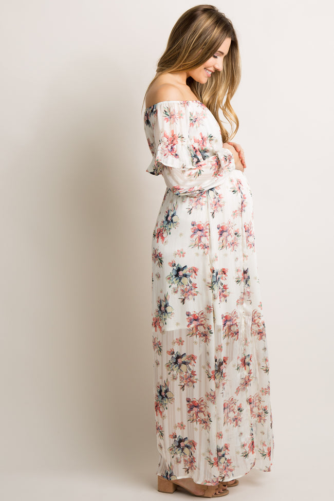 Ivory Floral Off Shoulder Maternity Maxi Dress