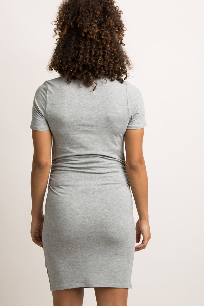 Grey Solid Short Sleeve Ruched Maternity Dress