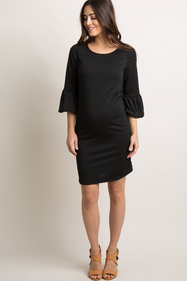 Black Solid Ruffle Sleeve Maternity Shift Dress