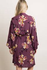 Purple Floral Delivery/Nursing Maternity Robe