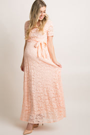 Peach Lace Sash Tie Maternity Gown