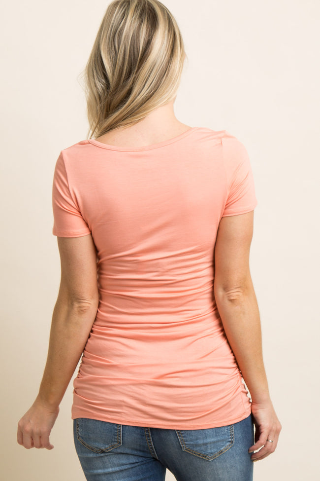 Salmon Ruched Short Sleeve Maternity Top