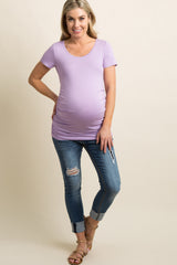 Lavender Ruched Short Sleeve Maternity Top