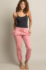 Light Pink Drawstring Maternity Sweatpants