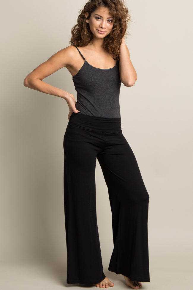 Black Solid Wide Leg Maternity Lounge Pants