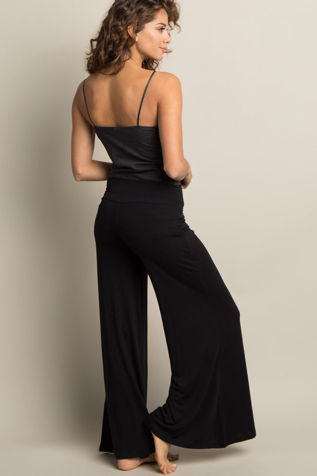 Black Solid Wide Leg Lounge Pants