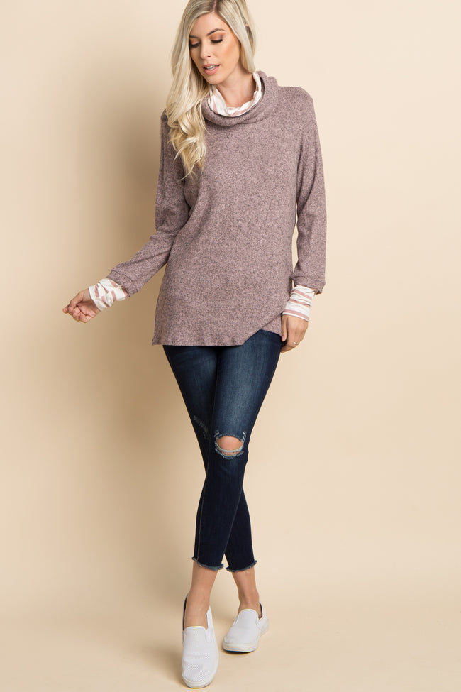 Mauve Striped Cowl Neck Knit Sweater