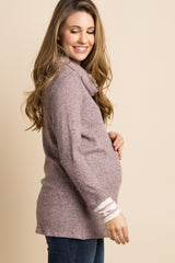 Mauve Striped Cowl Neck Knit Maternity Sweater