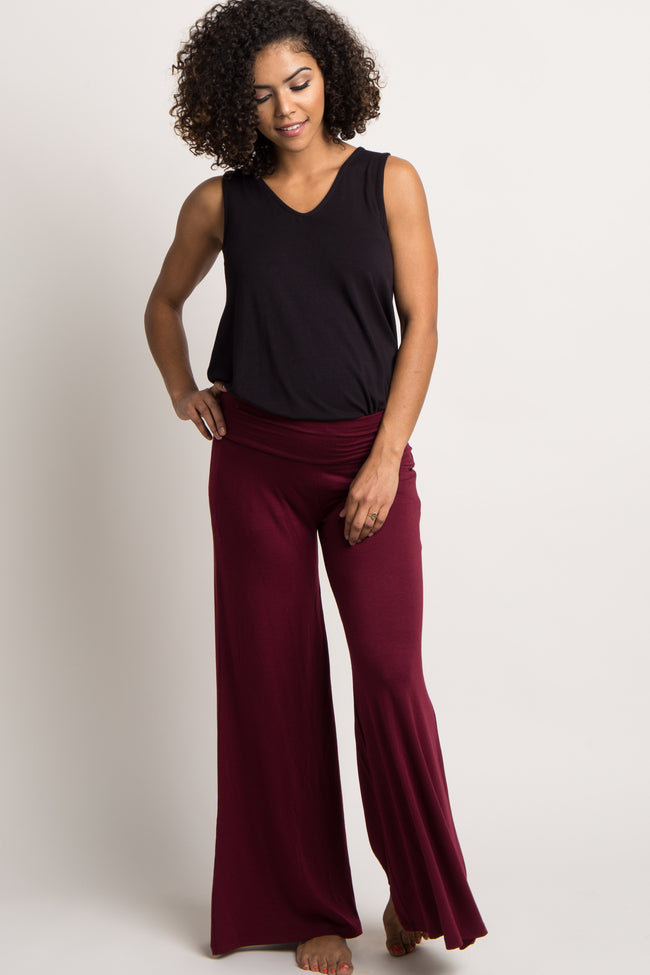 Burgundy Solid Wide Leg Maternity Lounge Pants