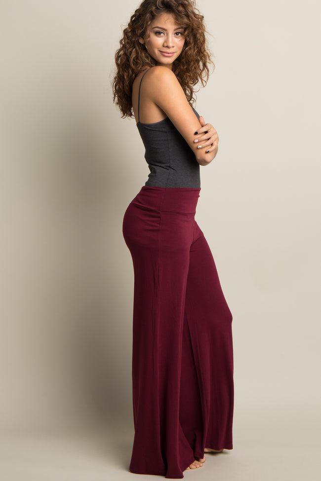Burgundy Solid Wide Leg Lounge Pants
