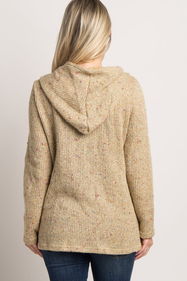 Taupe Knit Maternity Hoodie