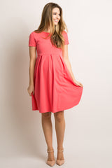 Coral Basic Pleated Skirt Maternity Dress
