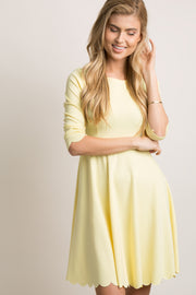 Yellow Scalloped Hemline Dress