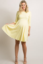 Yellow Scalloped Hemline Maternity Dress