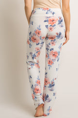 White Floral Maternity Pajama Pants
