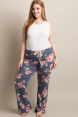 Navy Floral Plus Maternity Pajama Pants