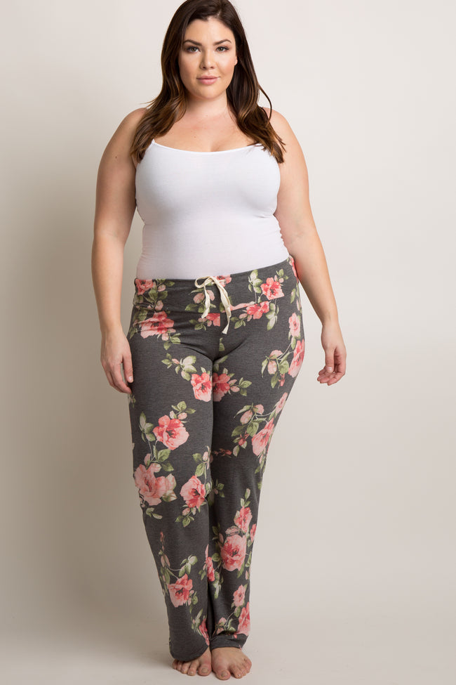 Charcoal Grey Rose Floral Plus Maternity Pajama Pants