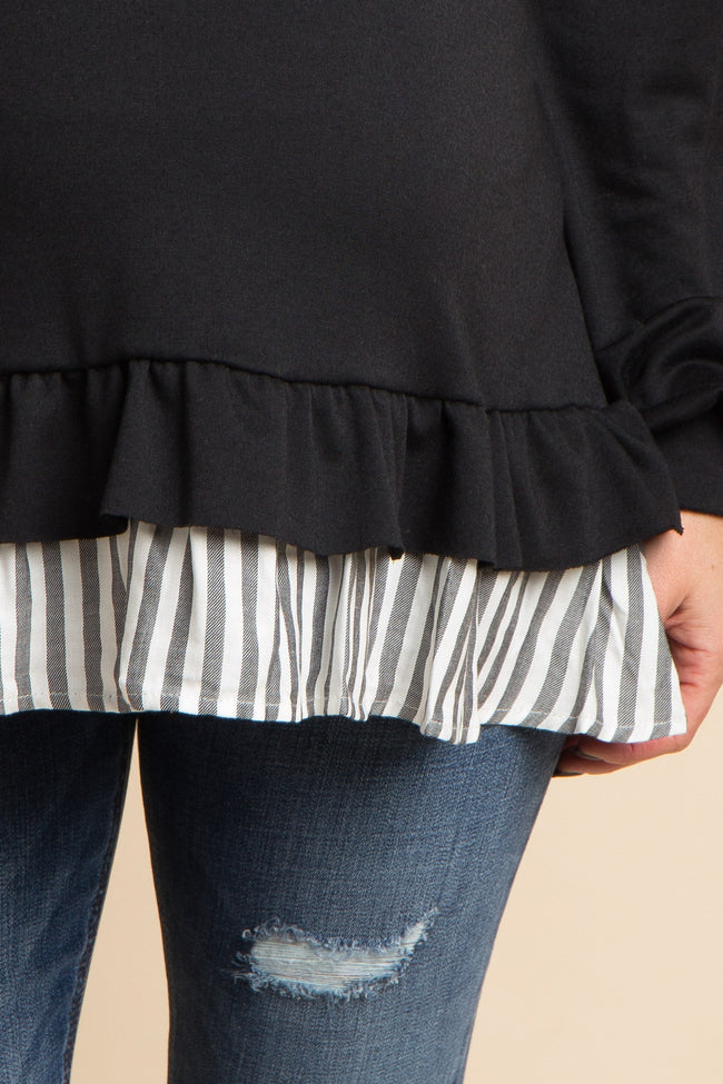 Black Solid Ruffle Striped Trim Top