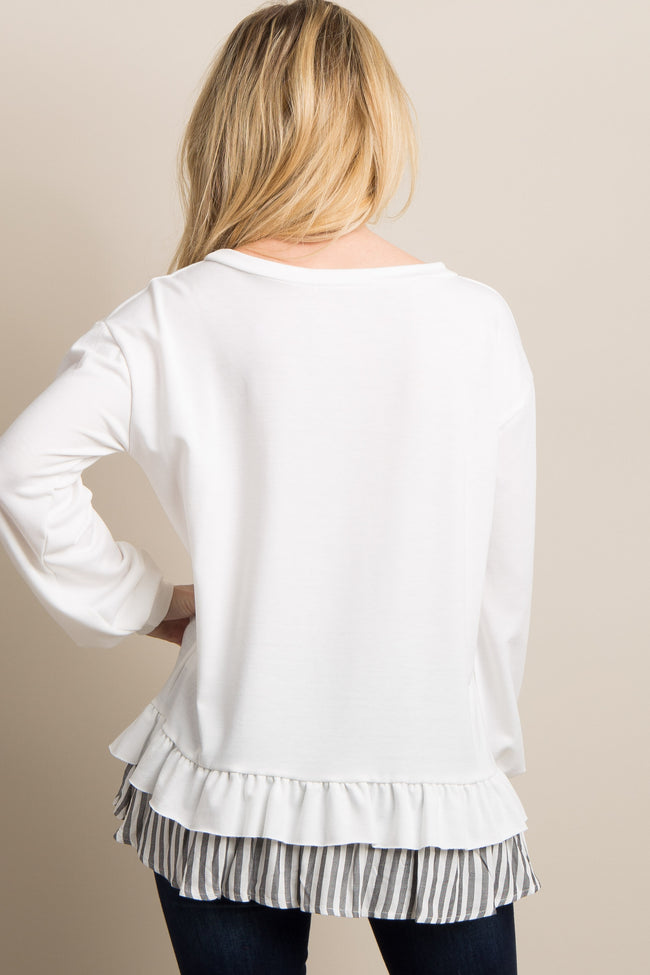 White Solid Ruffle Striped Trim Top