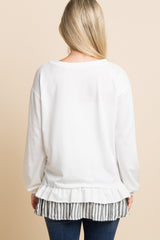 White Solid Ruffle Striped Trim Maternity Top