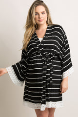 Black Striped Lace Trim Delivery/Nursing Plus Maternity Robe